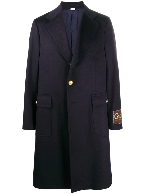 Gucci Double G Button Single-breasted Coat In Blue