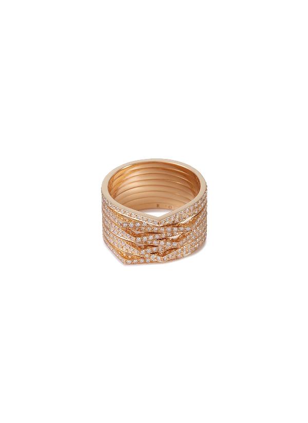 Repossi Antifer 18k Rose Gold & Pavé Diamond 8-row Ring In Diamond Rose Gold