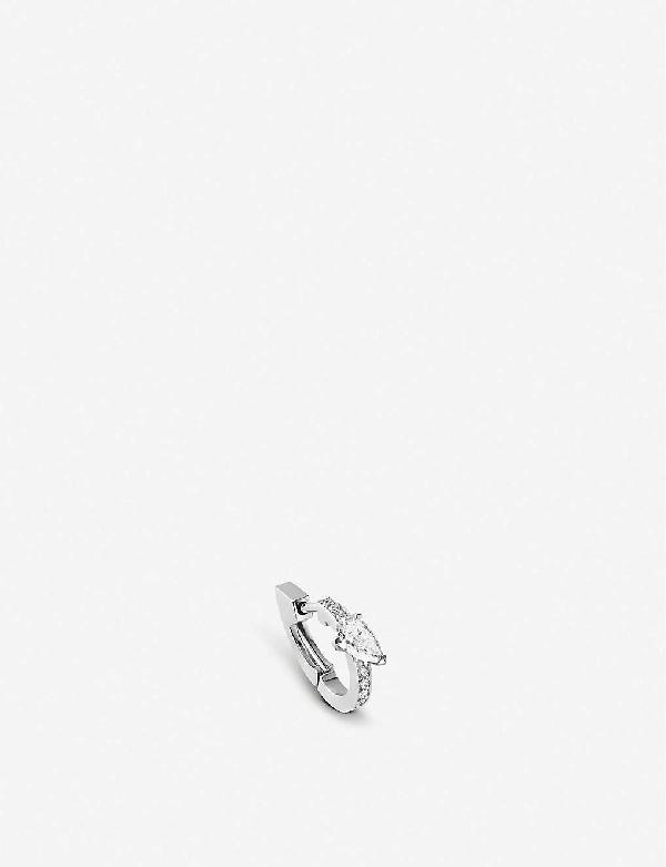 Repossi Harvest 18k White Gold & Diamond Single Hoop Earring In Diamond White Gold