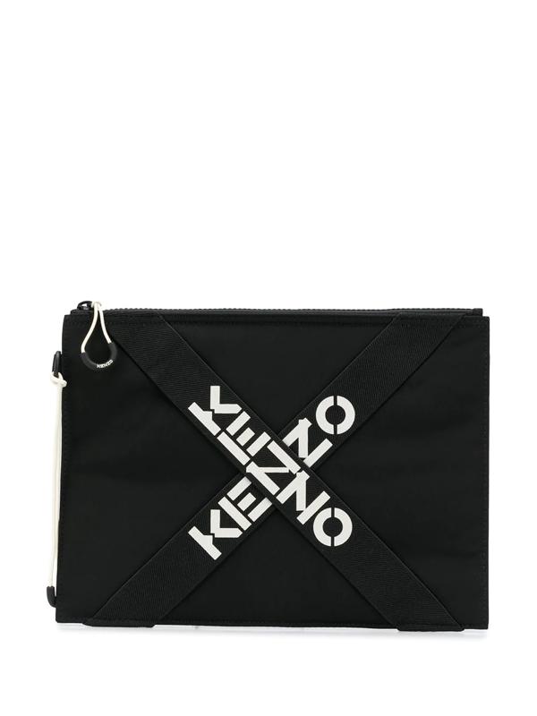 Kenzo Logo-print Clutch In Black