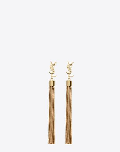 d6900752d94b Saint Laurent Monogram Ysl Small Tassel Chain Earrings In Yellow ...