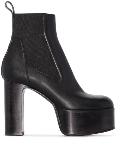 Rick Owens Kiss Grained-leather Platform Chelsea Boots In 09 Black