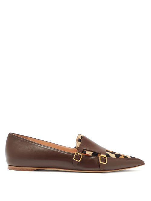 Rupert Sanderson Niwin Point-toe Leather And Pony Hair Monk Flats In Burgundy Multi