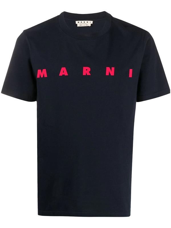 Marni T-shirt Short Sleeve Cotton In Blue