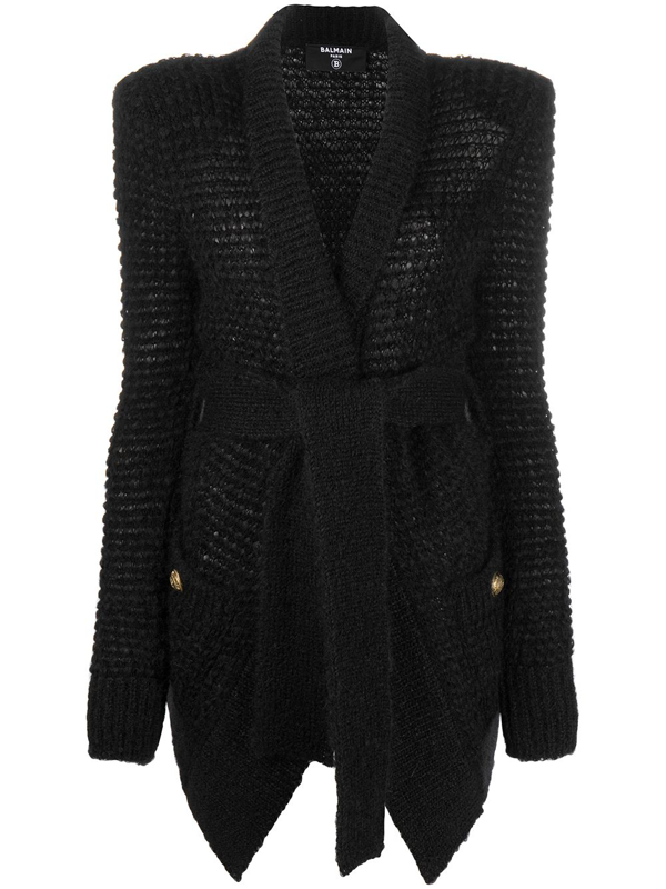 Balmain Tie-waist Knitted Cardigan In Black