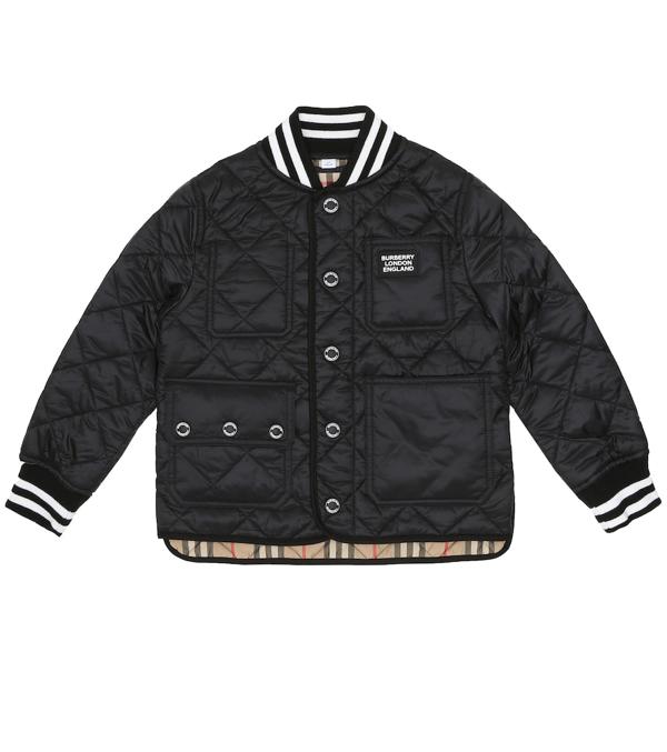 Burberry Teen Diamond-quilt Bomber Jacket In Black