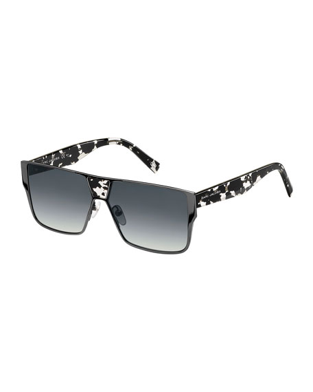 Marc Jacobs Faceted Flat-top Oversized Square Sunglasses, Black