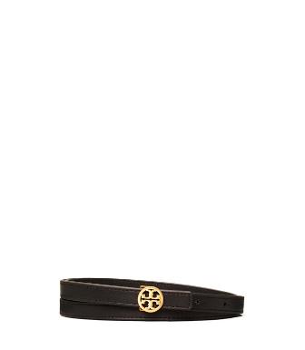Tory Burch Women's Skinny Logo Belt In Black