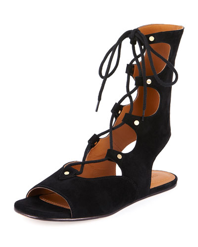 ChloÉ ''Lettonia' Lace-Up Suede Gladiator Sandals In Nero