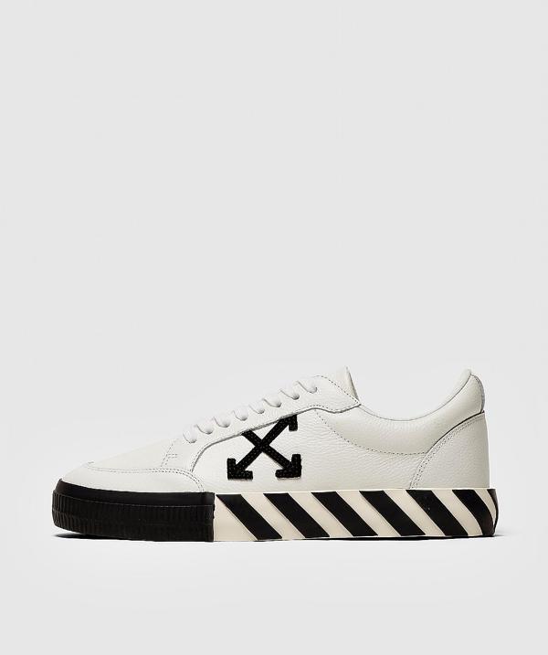 Off-white Logo-appliquéd Full-grain Leather Sneakers In Black/white