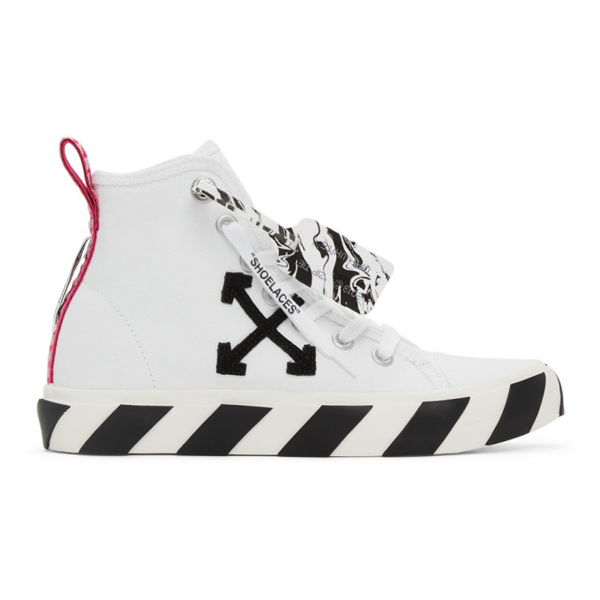 Off-white White & Black Vulcanized Mid-top Sneakers
