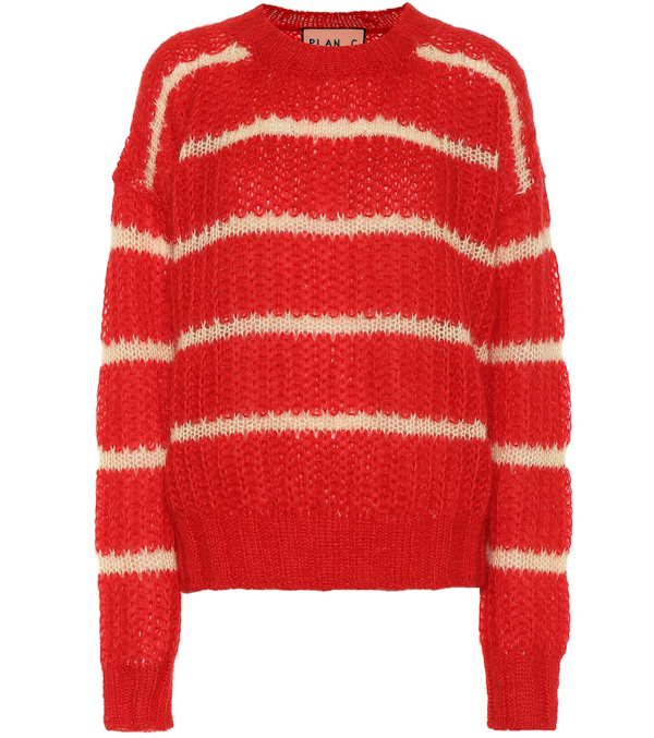 Plan C Red Striped Wool Women's Sweater
