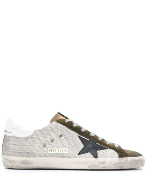 Golden Goose Men's Superstar Suede %26 Canvas Sneakers In Silver/ Green/ Black/ White