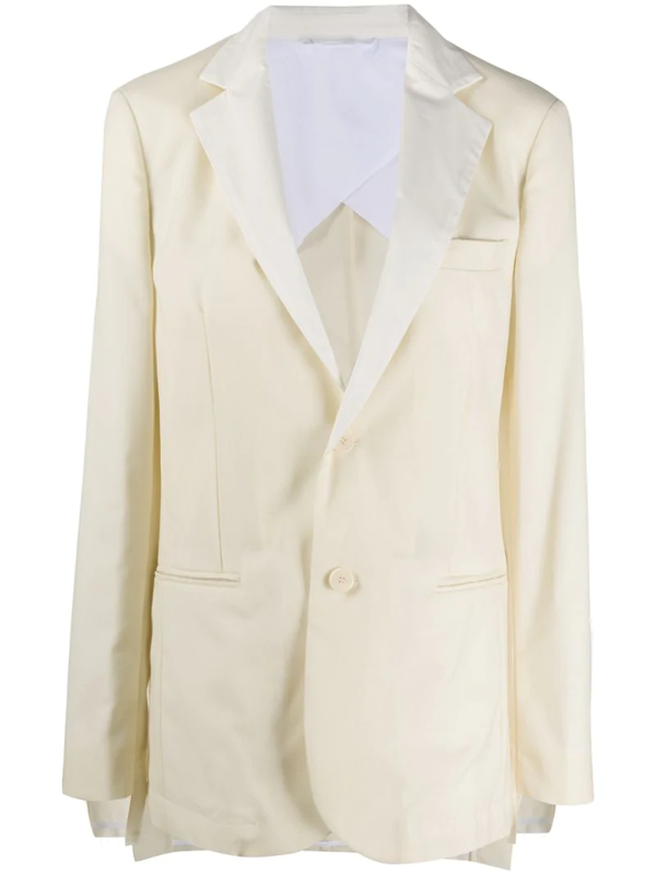 Maison Flaneur Long-sleeved Button Up Blazer In White