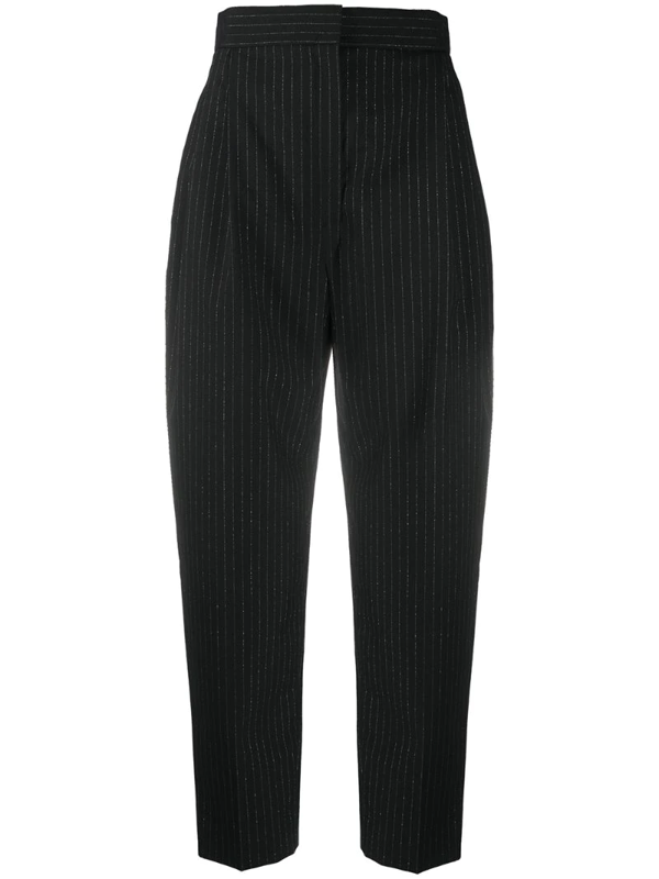 Alexander Mcqueen Glitter Pinstripe High Waist Trousers In Black