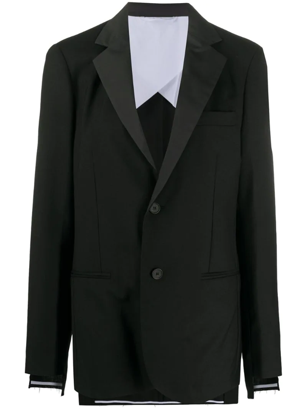 Maison Flaneur Long-sleeved Contrast Lapel Blazer In Black