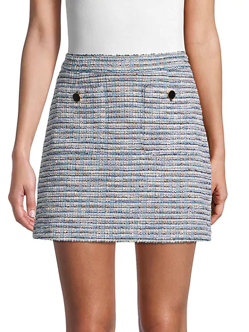 Cupcakes And Cashmere Perseus Tweed Mini Skirt In Blue Fog
