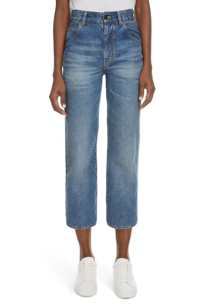 Saint Laurent Original Straight Leg Jeans In Sun Dirty Blue