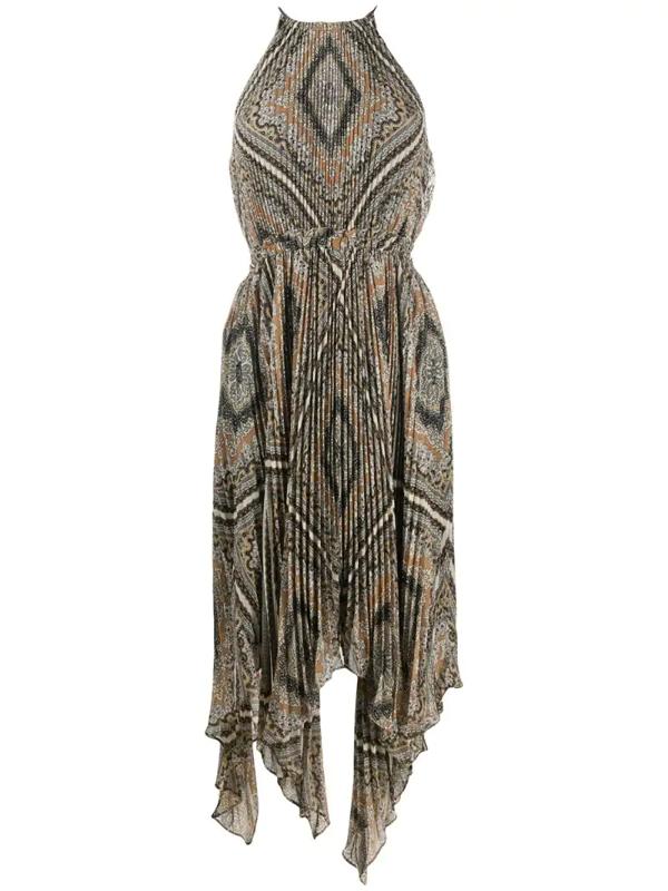 Michael Michael Kors Geometric-print Pleated Dress In Neutrals