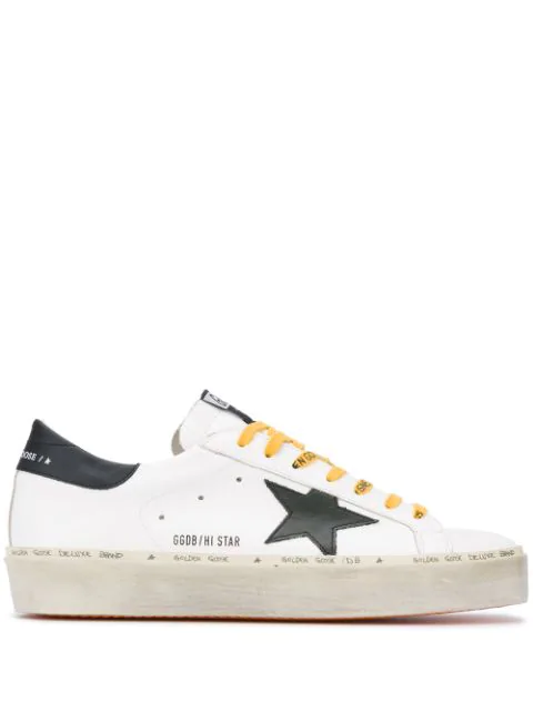 Golden Goose Men's Hi Star Logo-print Leather Low-top Trainers In White/ Army Green/ Black