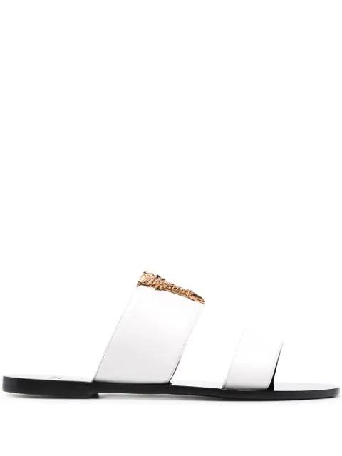 Versace V-hardware Slide Sandal In K0aoh Optical White-warm Gold