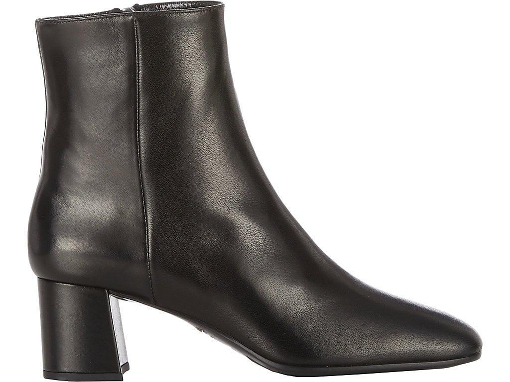 40137cf927 Prada Leather Square-Toe 55Mm Ankle Boot, Black (Nero) | ModeSens