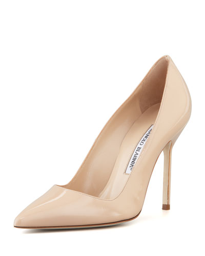 Manolo Blahnik Patent Bb Pumps In Nudeflesh