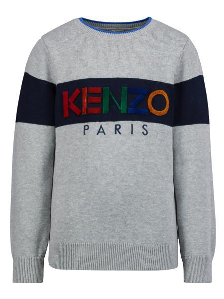 Kenzo Kids Pullover Logo For Boys In Grey