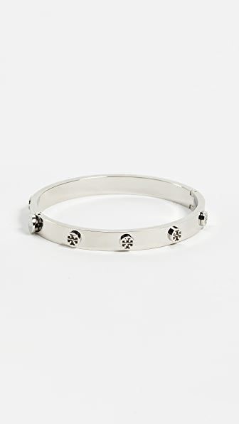 Tory Burch Logo Studded Hinge Bangle In Tory Silver
