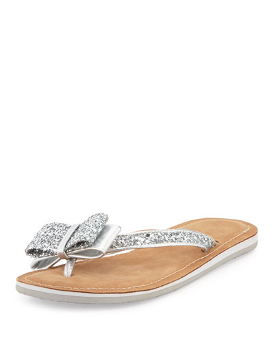 Kate Spade Icarda Glitter Bow Flat Thong Sandal, Silver