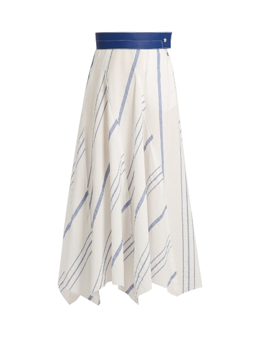 2dfeab36b2f0 Loewe Leather-Trimmed Striped Cotton And Linen-Blend Midi Skirt In Blue  White
