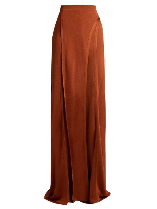 Balmain Wide-Leg Side-Slit Knit Trousers In Copper-Brown