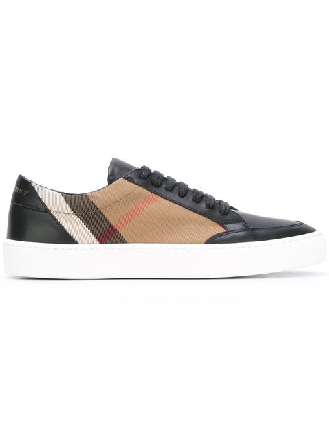 Burberry Salmond Check & Leather Low-Top Sneakers, House Check/Black