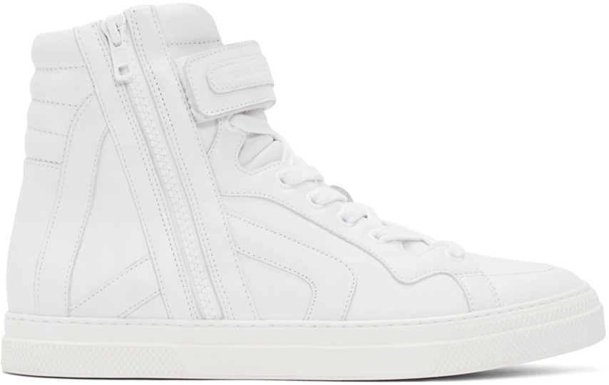Pierre Hardy White Leather High-top Sneakers