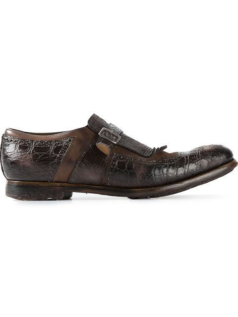 Church's Croc Effect Monk Shoes In Brown