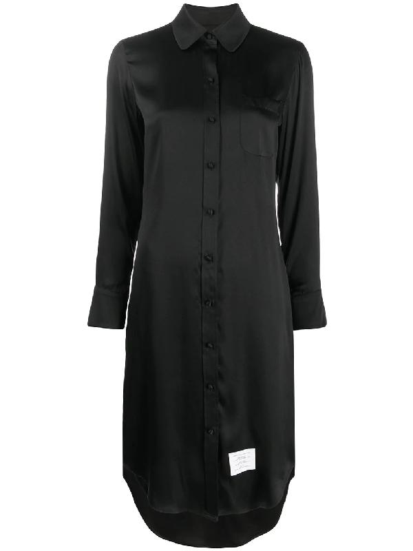 Thom Browne Hemdkleid Mit Rundem Ausschnitt In Black