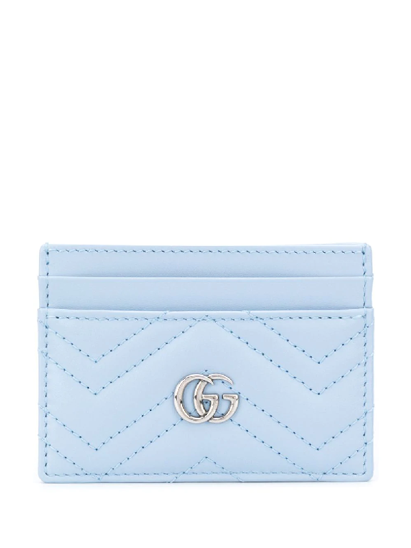 Gucci Gg Marmont Leather Cardholder In Blue