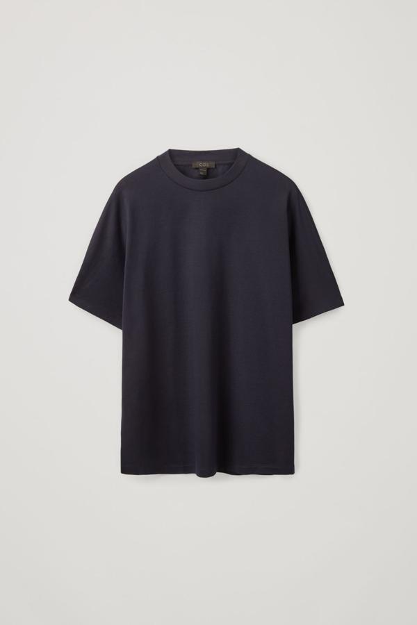 Cos Half Kimono Sleeve Cotton Top In Blue