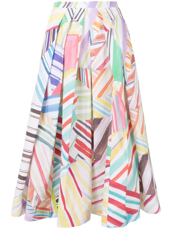 Rosie Assoulin Pleated Printed Cotton-poplin Midi Skirt In White