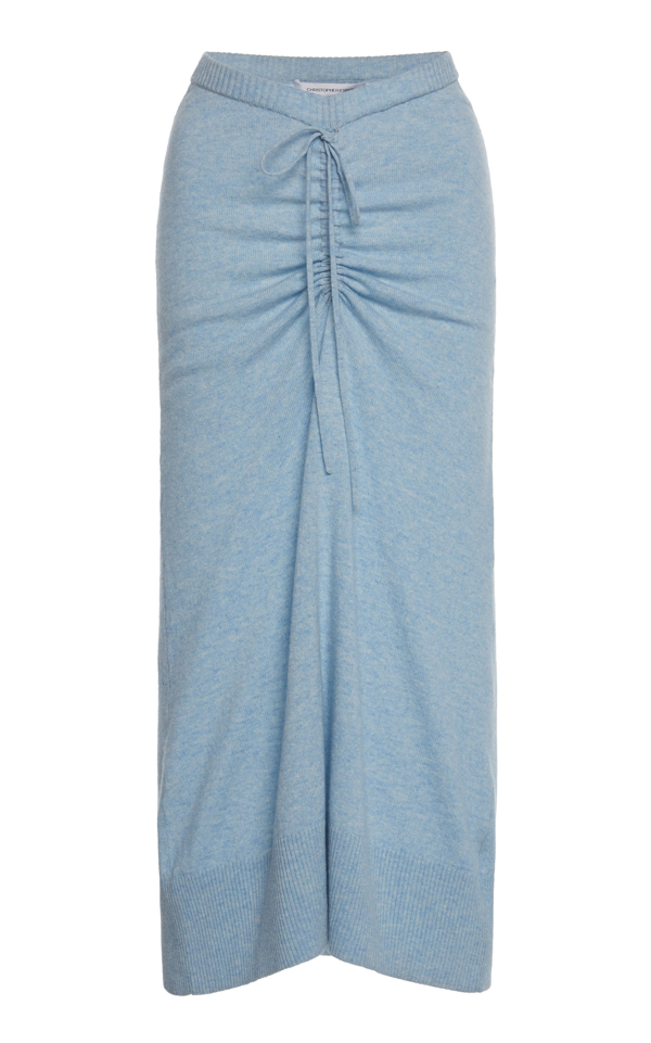Christopher Esber Ruched Wool-blend Midi Skirt In Dusty Blue Marble