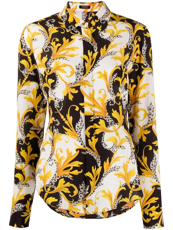 Versace Barocco Acanthus Print Silk Shirt In Black