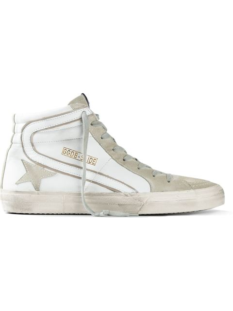 Golden Goose Distressed Leather And Suede High-top Sneakers In White
