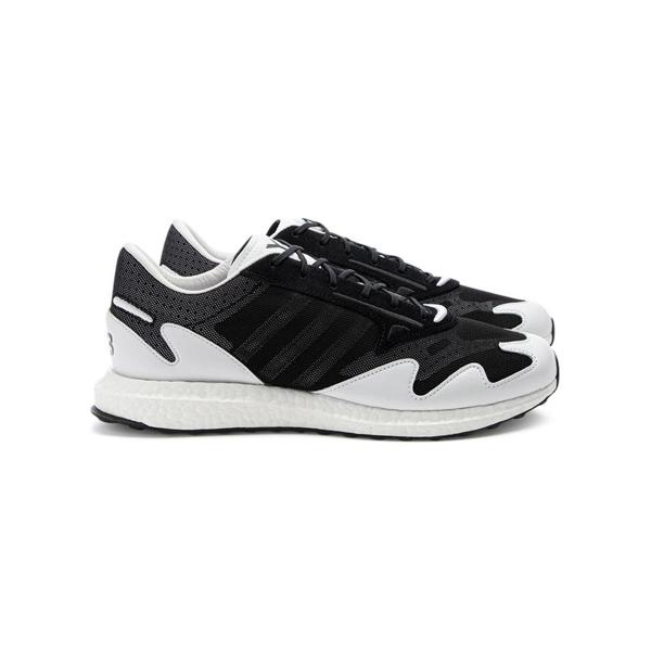 Y-3 Rhisu Run Leather And Suede-trimmed Mesh Sneakers In Black