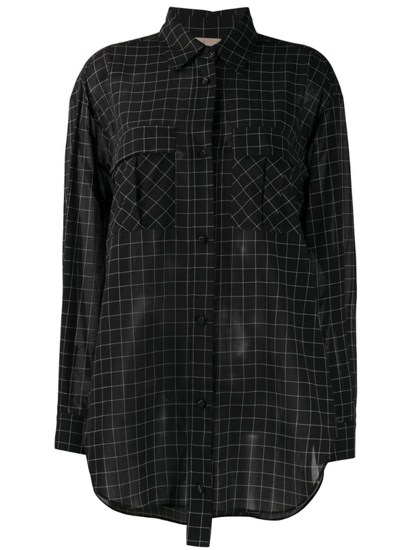 Maison Flaneur Long-sleeved Check Print Shirt In Black