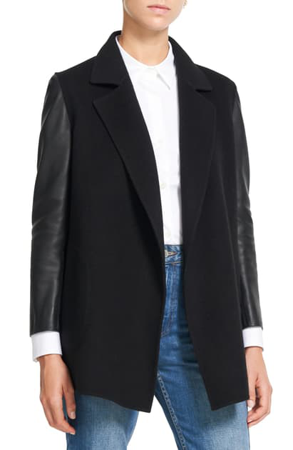 Theory Clairene Wool & Cashmere Jacket With Leather Sleeves In Black