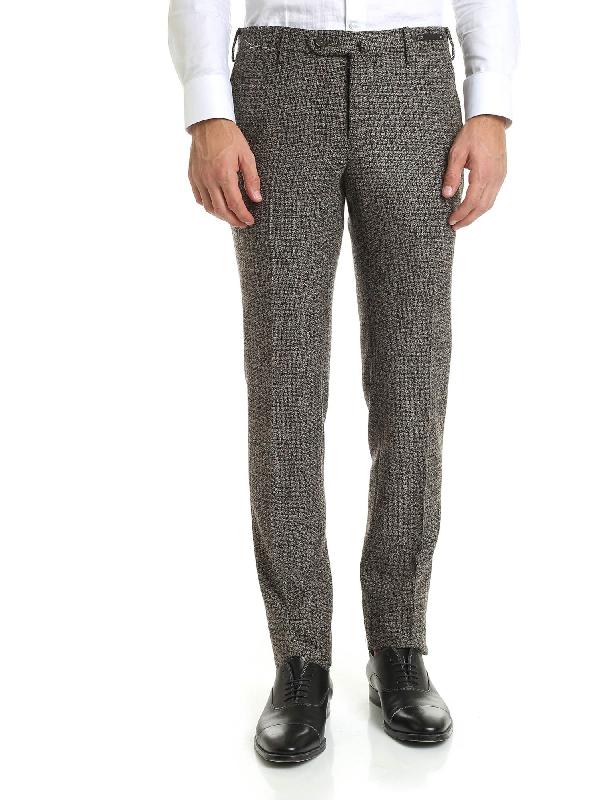 Pt01 Multicolor Virgin Wool Trousers In Brown
