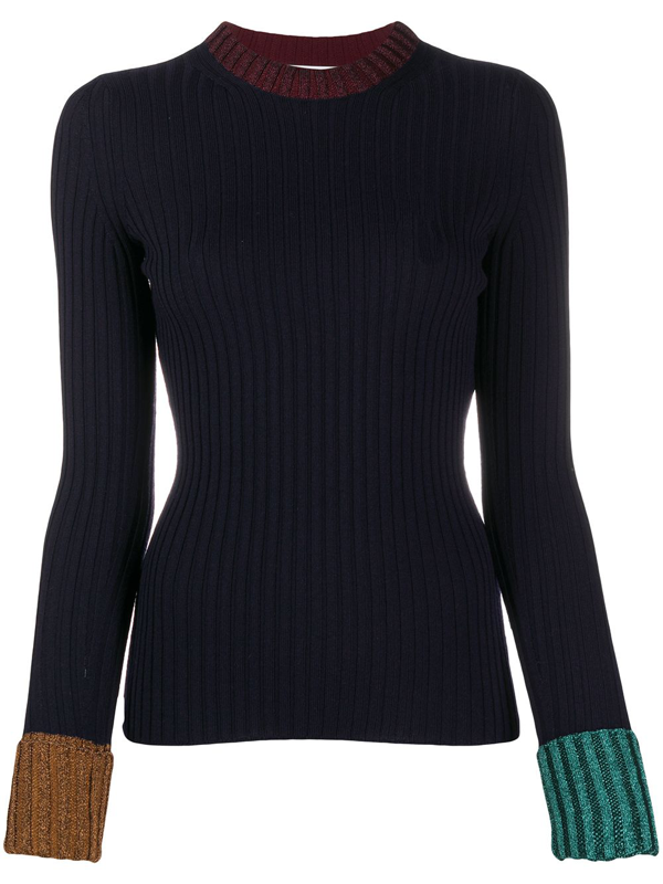 Lanvin Navy Blue Virgin Wool-viscose Blend Jumper
