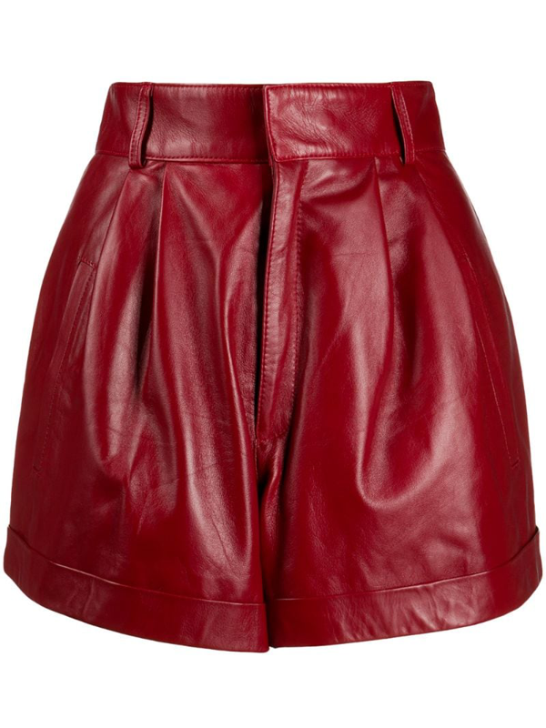 Manokhi High-waisted Turn-up Shorts In Red