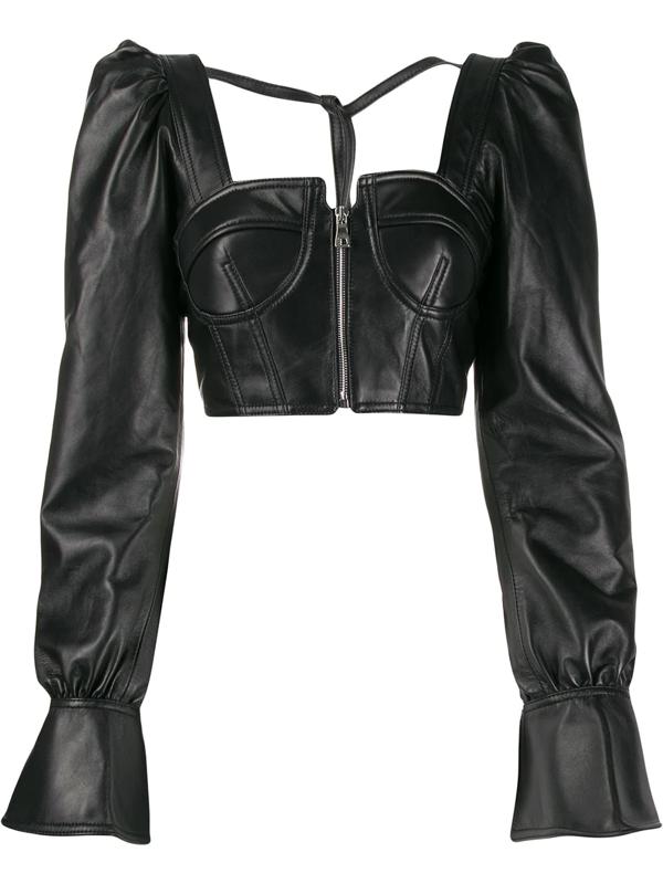 Manokhi Alia Juliet-sleeves Top In Black