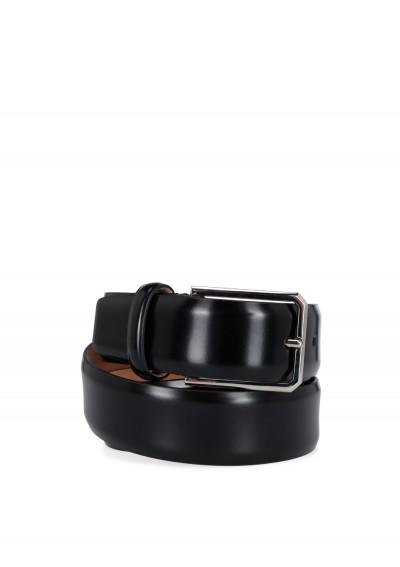 Santoni Calfskin Belt In Black